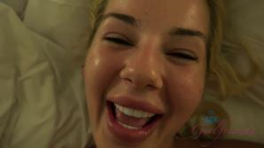 After your shower you fuck Bella and cum on her face.